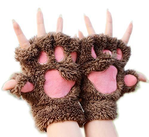 Unbekannt XINGUANG Katzenklauenhandschuhe Winter Cute Cartoon Cat Girl Mitt Handschuhe Dicke Villi Bärentatze halbe Fingerhandschuhe Sportausrüstung Mitt Kids Handschuhe
