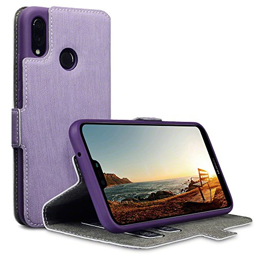 TERRAPIN, Kompatibel mit Huawei P20 Lite Hülle, Leder Tasche Case Hülle im Bookstyle mit Standfunktion Kartenfächer - Lila EINWEG