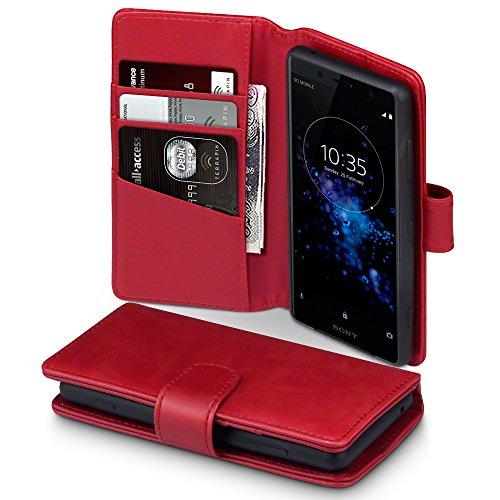 Terrapin, Kompatibel mit Sony Xperia XZ2 Compact Hülle, [ECHT LEDER] Brieftasche Case Tasche mit Standfunktion Kartenfächer und Bargeld - Rot