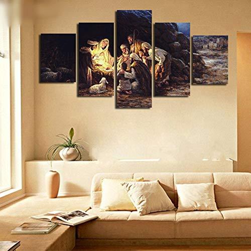 Jesucristo Luces de Navidad Virgen María Religión Pintura Cuadros en la pared para la sala Pinturas modulares Arte de la pared sin marco, 10Cm × 25Cm × 1Pcs