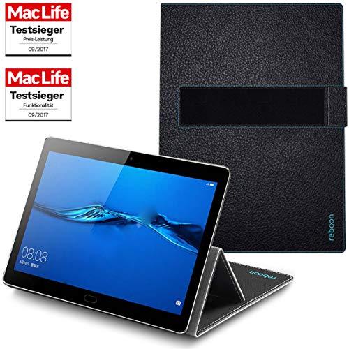 reboon Hülle für Huawei MediaPad M5 10 Pro Tasche Cover Case Bumper   in Schwarz Leder   Testsieger -