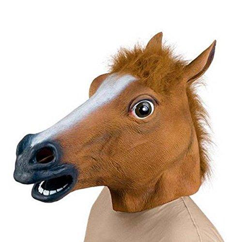 YONGYAO Gruselige Pferdekopf-Latexmasken-Gesichtsgummimaske Für Halloween-Festival