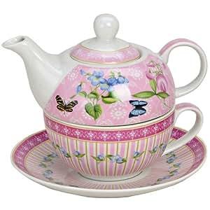 tea for one set teekanne porzellan bunt teeset teeservice schmetterling rosa k che. Black Bedroom Furniture Sets. Home Design Ideas