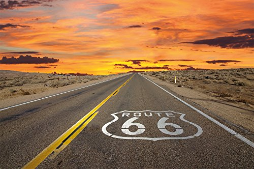 Route 66 FOTOMURALE- American highway tappezzeria da parete - poster XXL decorazione da parete by GREAT ART (210 x 140 cm