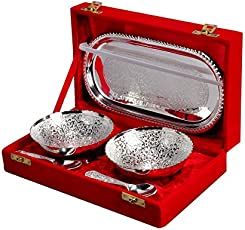 Jaipur Ace Silver Plated Bowl With Tray Set Of 5 Pieces (Abs00006 )