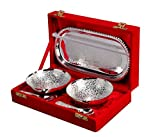 Jaipur Ace Silver Plated Brass Bowl Set | Premium Quality Bowl With Tray & Spoon | Best For Birthday, Anniversary, Diwali, Return Gift.