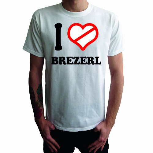 I don't love Brezerl Herren T-Shirt Weiß