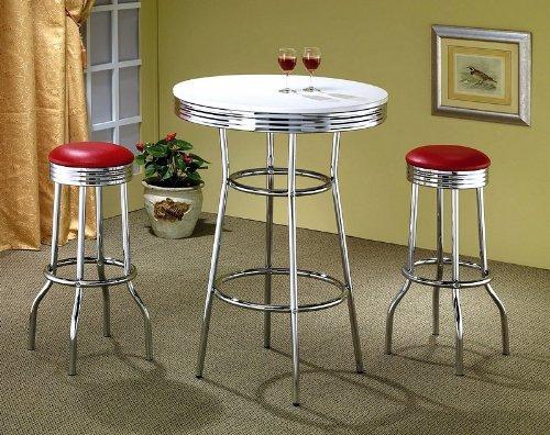 3Retro Stil Rot und Chrom BAR Tisch & 2Hocker Set