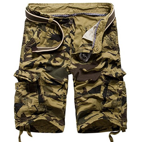 Men's Loose Camouflage Cotton Casual Shorts Kaki