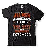 Silk Road Tees Hombres Mejor Nacen En noviembre de la Camiseta del Regalo de Cumpleaños Camiseta Large Negro