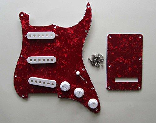 Strat PICKGUARD Set Red Pearl Pickguard Rückenplatte mit Weiß Pickup-Kappen Knöpfe Spitze