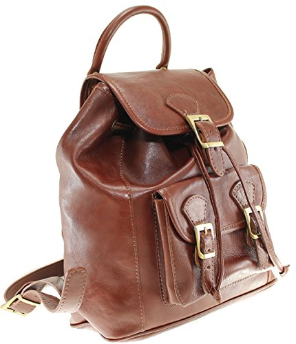 CTM Sac à dos, Sac à main Sac à dos unisexe, 27x30x13cm, cuir véritable 100% Made in Italy Brun