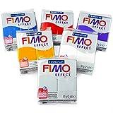 FIMO-Modelliermasse, EFFECT, Polymer-Lehm, ofenhärtend, 57 g, Glitzereffekt, 6 Stück