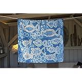 Batik Kissenbezug, blau/weiß/silber,
