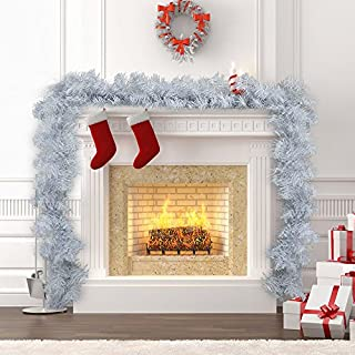 1pack White Christmas Garlands 270cm Artificial Wreath Fireplace Stair Xmas Tree Decoration (9ft)