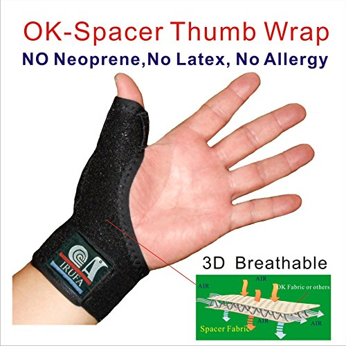 IRUFA,3D Breathable Patented Elastic Knit Spacer Fabric Reversible CMC Joint Thumb Stabilizer, Thumb Spica, Abducted Thumb for BlackBerry Thumb, Trigger Finger, Mommy Thumb Brace, Thumb Splint One PCS