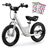Enkeeo Balance Bike No Pedal with Adjustable Upholstered Seat, Soft Handlebars, Enhanced Tyres, Wide Footrests, DIY Stickers, Bell, Hand Brake, Carbon Steel Frame and Stand, Safe andd Comfortable for Kids Toddlers ,12 inch, White