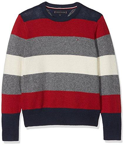 Tommy Hilfiger Jungen Pullover Multi Color Stripe Sweater Mehrfarbig (Black Iris 002), 152 (Herstellergröße: 12)