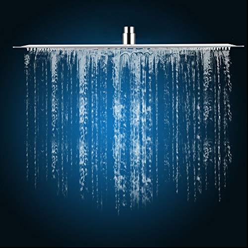 """20"""" Cabezal de Ducha de Acero Inoxidable Ducha de lluvia de Ducha Extra Grande Tipo cuadrado, Fácil de instalar, para hotel de baño hogar, Conexión: 1/2\"""""""