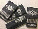 Cotton Trendy 100% Combed Cotton Exotic Embroidery 4 Pcs Hand Towel Set 440 GSM - Grey (50 cm X 90 cm)