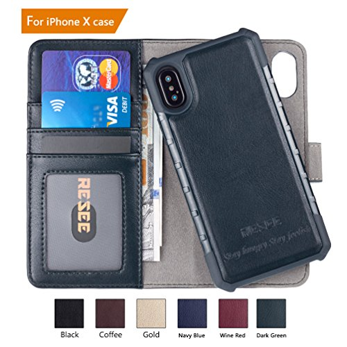 iPhone 7/8Wallet Fall, iPhone 6S/6Fall, resee [Abnehmbare 2in 1Cover] PU Leder magnetische Fall Flip Cover mit Karte Halter RFID-blockierender Stoßdämpfung, Dark Green - 5.0