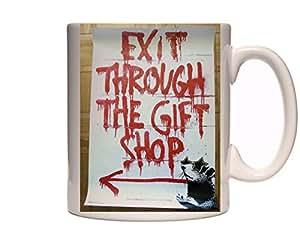 banksy mug exit through the gift shop 1 ceramic cup gift. Black Bedroom Furniture Sets. Home Design Ideas
