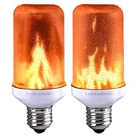 Flame Bulb,Lumiereholic E27 LED Flame Flickering Effect Fire Light New Year Bulbs, Simulated Decorative Atmosphere Lamps for New Year/Festival/Hotel/Bars/Home Decoration(Pack of 2)