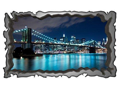 3D Wandtattoo Brooklyn Bridge Manhattan New York Skyline Wandbild selbstklebend Wohnzimmer Wand Aufkleber 11E128, Wandbild Größe E:ca. 168cmx98cm