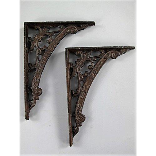 2 Regalträger antik-braun aus Eisen Jugendstil Regalhalter Regal Winkel Regalstützen