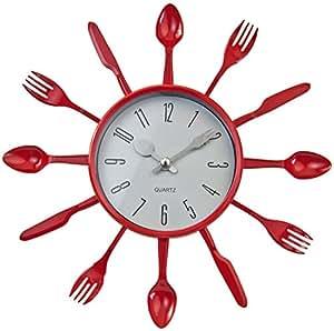 Cuisines design horloge couteau coutellerie cuillère fourchette horloge rouge