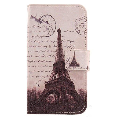 Lankashi PU Flip Leder Tasche Hülle Case Cover Handytasche Schutzhülle Etui Skin Für Archos Saphir 50X 5 (Stamp Tower Design)
