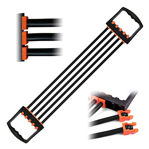 JEEZAO Brust Expander Fitness 5-Fach AbnehmbarLatex Widerstandsbänder für Arm Muskeltrainer das Fitnessstudio 5x15lbs