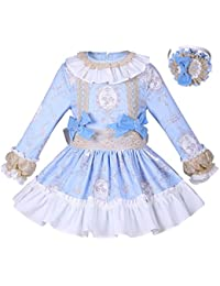 Lajinirr Niñas Manga de Soplo niños Camisetas de Flores y Faldas de niña de impresión Arco Trajes