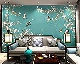 HONGYUANZHANG Grüne Naturblumen Und -Vögel Benutzerdefinierte 3D-Fototapete Künstlerische Landschaft Tv-Hintergrundbild,24Inch (H) X 32Inch (W)