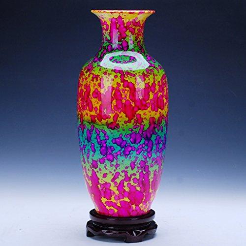 NAUY Jingdezhen porcellana ceramica smalto di colore colorato Glaze Vaso moderno salotto decorato decorazione del salone (38 * 18cm) ( colore : #1 )