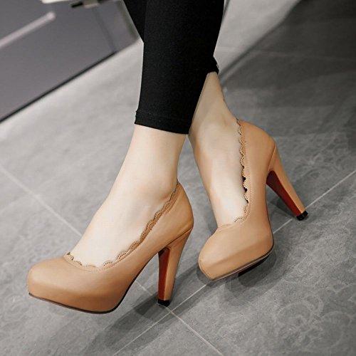 Mee Shoes Damen Spitzen innen Plateau runde high heels Pums Aprikose