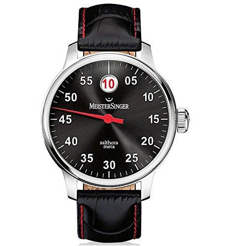 Meistersinger Single Hand Salthora Meta Homme 43mm Bracelet Cuir Noir Saphire Automatique Montre SAM907