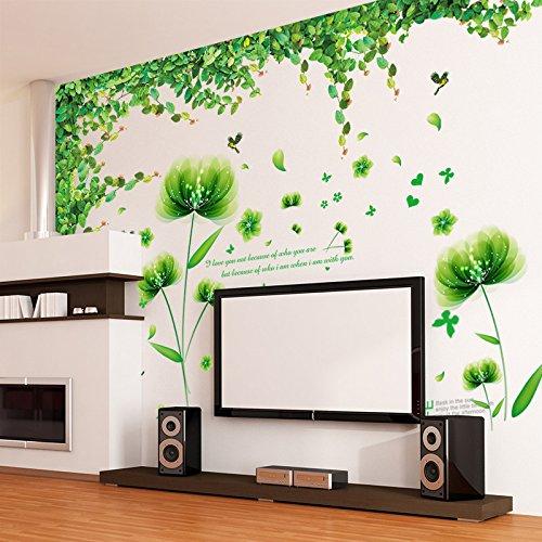 SISANLAI Wall Sticker Art Wohnzimmer TV-Wand Baum Cane grün Blatt Schlafzimmer kreative Tapete Selbstklebende (Schlafzimmer Cane)