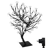 90er LED Baum 60cm Hoch Kirschbaum Lichterbaum Baum Weihnachten Innen (Kaltweiß)
