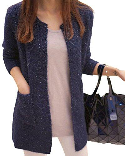 Minetom donna knit cardigan maniche lunghe jumper outwear maglia jacket sweatshirt tops con tasca blu scuro it 44
