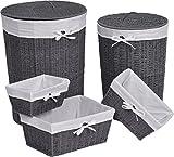 Lote de 5 piezas: Conjunto de 2 cestos redondos de ropa con tapaderas y Conjunto de 3 cestas - Color GRIS y BLANCO Roto