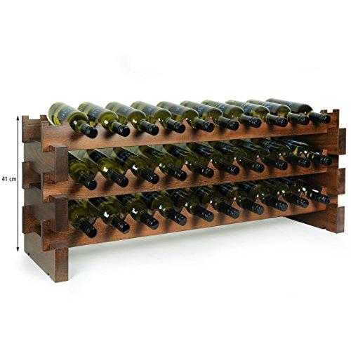 Weinregal 'Casanova', B 114 cm, für 30 Flaschen, Holz, Buche, nussbaumfarben