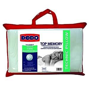 Dodo topmemory oreiller uni classique blanc 40 x 60 cm - Dodo oreiller ergonomique ...