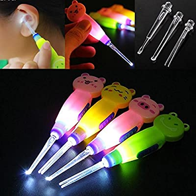 Cartoon Baby's Care LED Flashlight Ear Pick Ear Wax Removal Syringe, Ear Curette Cleaner Tool Curette Transparent Ear Syringe (Random Color)
