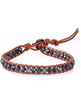 KELITCH Soot Achat Facettiert Perlen Beige Leder Armband Freundschaftsarmbänder