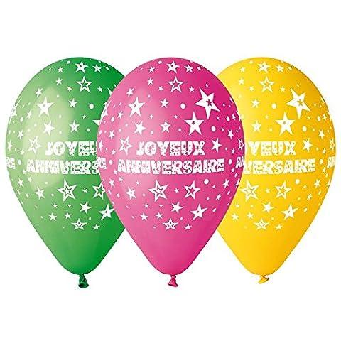 Ballon Multicolore Joyeux Anniversaire x10 - Taille Unique