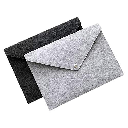 Pingxia 2 Stück Filz Dokumententasche A4 Umschlag Ordner Datei Tasche Dokument Papier Organizer Aktentasche, Knopfverschluss, Dunkelgrau und Hellgrau