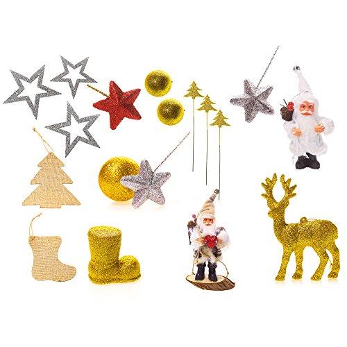 18-Pack sortiert bruchsicher Weihnachtsmann Weihnachtskugeln Weihnachten fünf-spitzen Stern Elch Weihnachtsschmuck Set dekorative Kugeln Anhänger für Weihnachtsbaum