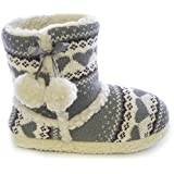 Slumberzzz Ladies Heart Knitted Bootie Slipper with Pom Poms