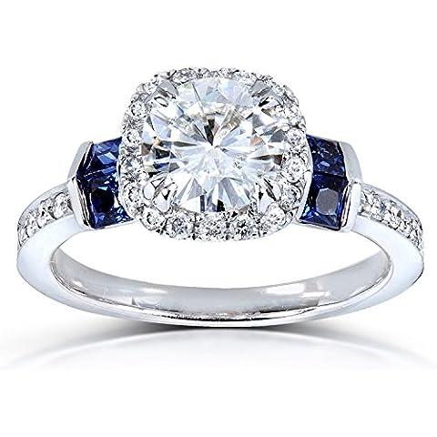 Rotonda Moissanite Diamante e Blu Zaffiro Anello Di Fidanzamento 13/5CTW in oro bianco 18K - Moissanite Diamante Zaffiro